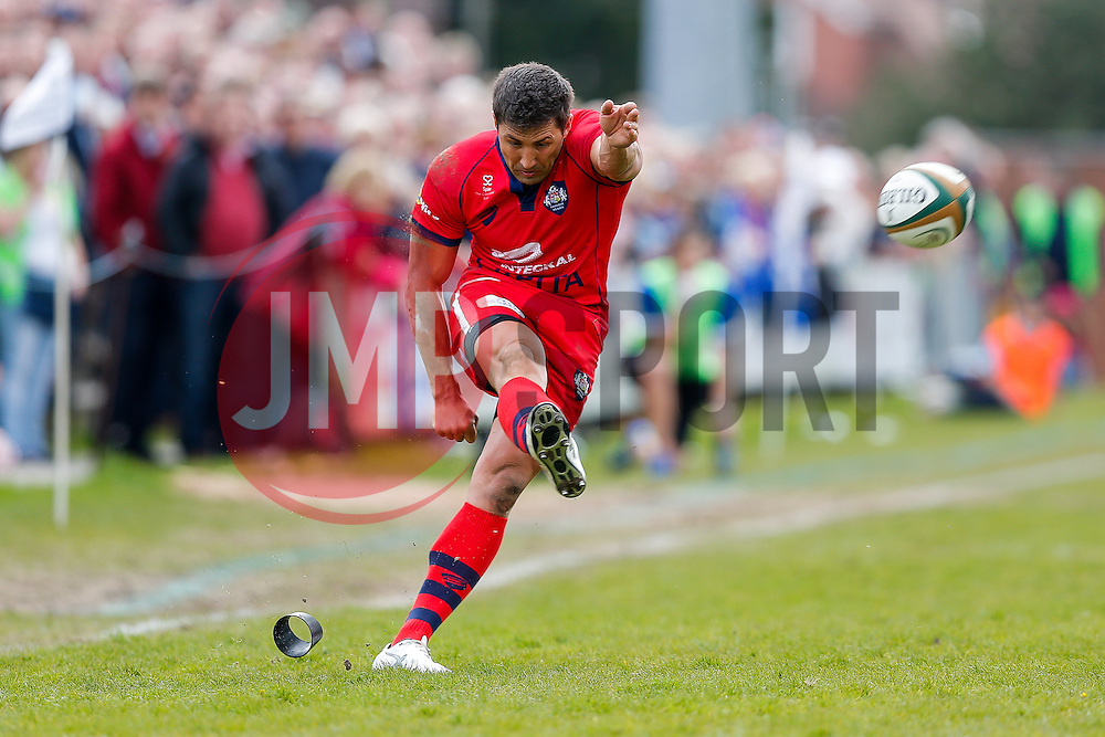 Bristol Rugby Inside Centre Gavin Henson kicks a conversion - Photo mandatory by-line: Rogan Thomson/JMP - 07966 386802 - 10/05/2015 - SPORT - RUGBY UNION - Abbeydale Park, Sheffield - Rotherham Titans v Bristol Rugby - Greene King IPA Championship Play Off Semi Final Second Leg.