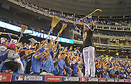 Kansas City Royals catcher Salvador Perez (right) stands on top of the dugout and celebrates with Royals fans after sweeping the Los Angeles Angels and advancing to the ALCS after game three of the 2014 ALDS baseball playoff game at Kauffman Stadium.