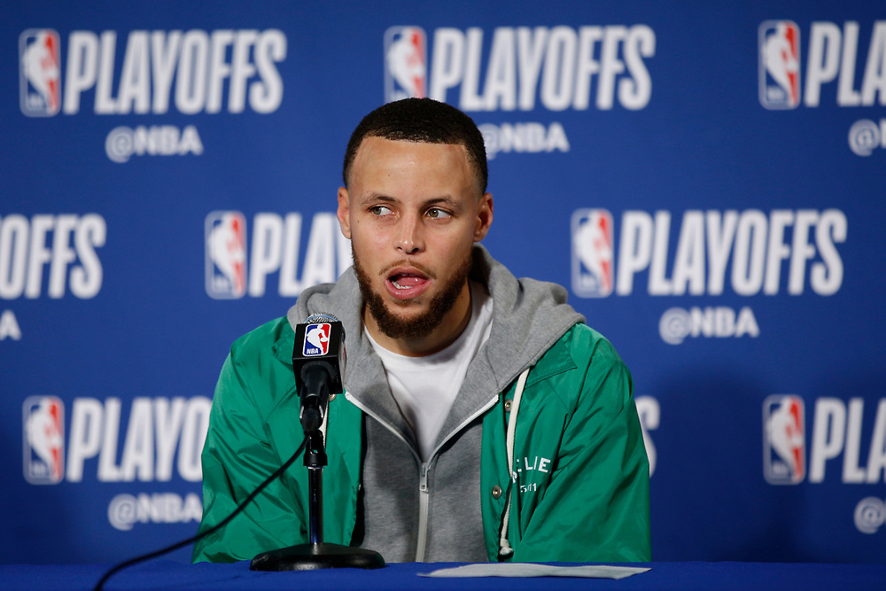 Stephen Curry during a news conference following Game 2 of the NBA Western Conference semifinals between the Golden State Warriors and New Orleans Pelicans at Oracle Arena, Tuesday, May 1, 2018, in Oakland, Calif. The Warriors won 121-116.
