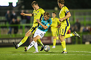 Forest Green Rovers George Williams(11) battles with Cheltenham Town's Jonny Mullins(5) during the EFL Trophy match between Forest Green Rovers and Cheltenham Town at the New Lawn, Forest Green, United Kingdom on 4 September 2018.