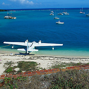 Seaplane ready for takeoff in Dry Tortugas National Park, FL.