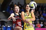 Pulse player Ameliaranne Ekenasio and Tactix player Lily Fletcher during the 2018 Super Club Netball Final Tactix v Pulse. Trafalgar Centre, Nelson, New Zealand. Friday 24 August 2018. ©Copyright Photo: Chris Symes / www.photosport.nz