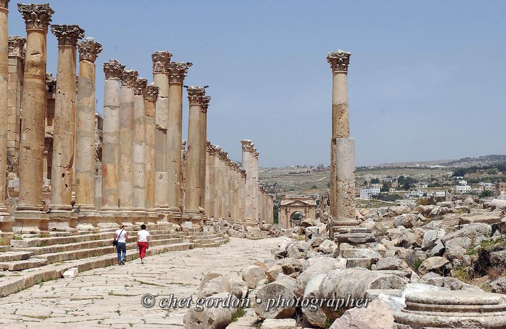 Walking among the ancient Roman city of Jerash on the outskirts of Amman, Jordan on Thursday, April 20, 2006.