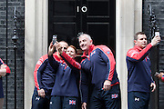 UNITED KINGDOM, London: 27 April 2016 Members of Team Great Britain of the Invictus Games take a selfie outside No.10 Downing Street this afternoon before meeting Prime Minister David Cameron. Rick Findler / Story Picture Agency