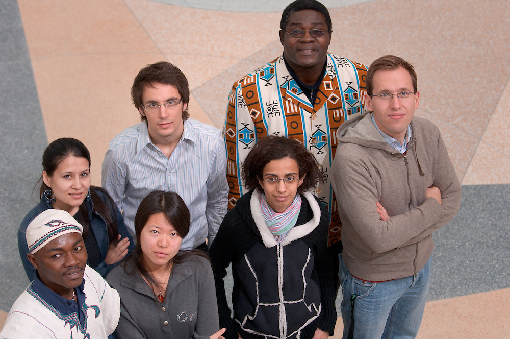 Timothy Adivilah, Mohira Kurbanova, Tianjiao Chen, Edward Akita, Reuben Dlamini,  Sebastian Doering.....International Student in Baker Center Globes...International Student in Baker Center Globes