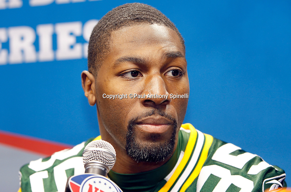 Green Bay Packers wide receiver Greg Jennings (85) speaks to the press at Super Bowl XLV media day prior to NFL Super Bowl XLV against the Pittsburgh Steelers. Media day was held on Tuesday, February 1, 2011 in Arlington, Texas. ©Paul Anthony Spinelli
