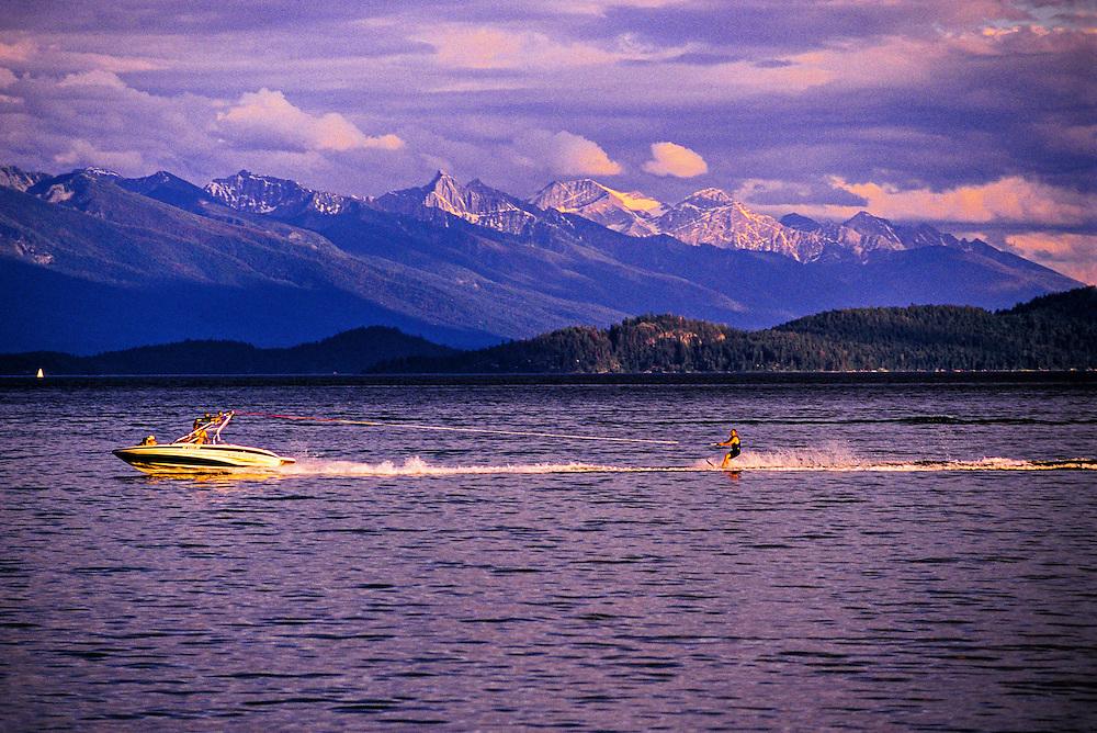 Waterskiing, Rollins, Flathead Lake, Montana USA