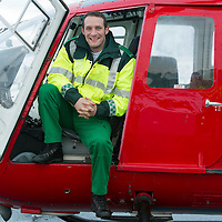 SCAA..Scotland's Charity Air Ambulance have started to train the five paramedics who will man the new Air Ambulance to be based in Perth, pictured is paramedic Wayne Auton from Tarbet in a Bolkow 105 from Bond Aviation Services who have been chosen to provice the aircraft for SCAA....24.01.13<br /> For further info contact Maureen Young on 07778 779888<br /> Picture by Graeme Hart.<br /> Copyright Perthshire Picture Agency<br /> Tel: 01738 623350  Mobile: 07990 594431