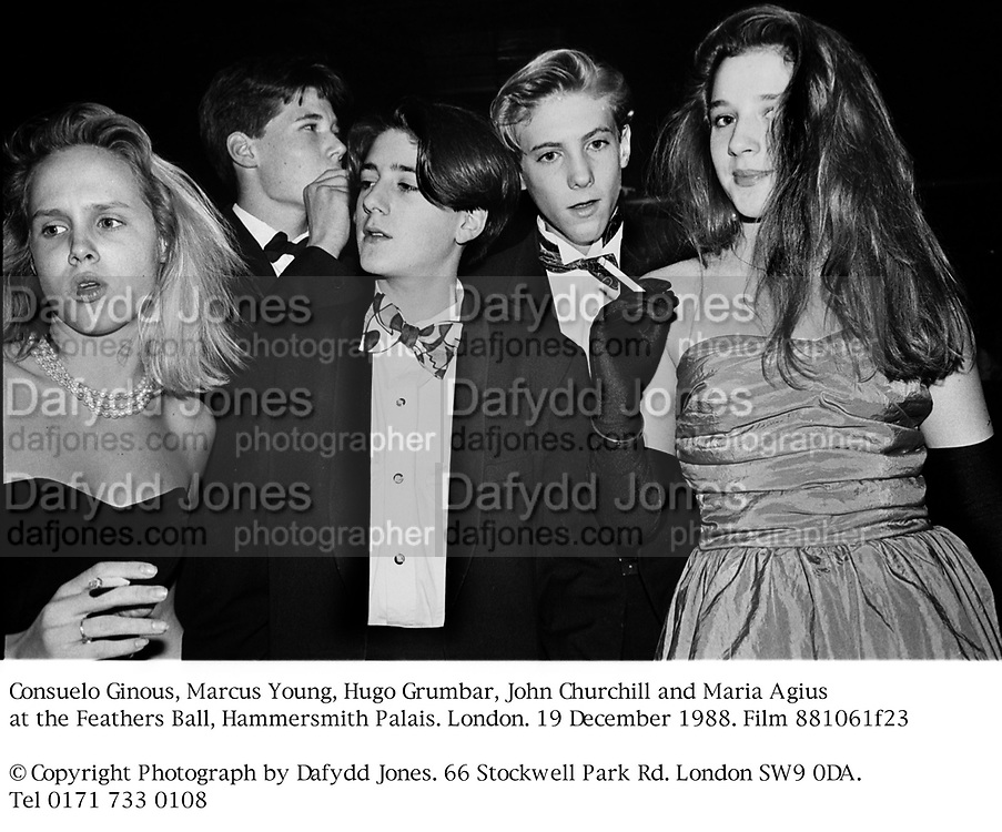 Consuelo Ginous, Marcus Young, Hugo Grumbar, John Churchill and Maria Agius at the Feathers Ball, Hammersmith Palais. London. 19 December 1988. Film 881061f23<br />© Copyright Photograph by Dafydd Jones. 66 Stockwell Park Rd. London SW9 0DA. Tel 0171 733 0108