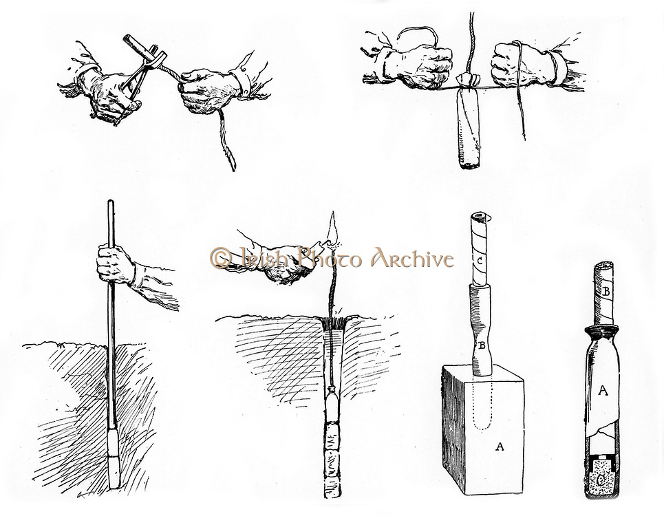 Method of preparing and setting a Dynamite charge.  From 'La Science Illustree', Paris, c. 1890