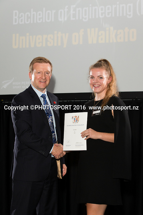 Hon. Jonathan Coleman presents certificate to Cycling Holly White at the High Performance Sport NZ Waikato ceremony for the Prime Minister's Scholarship Awards, at Sir Don Rowlands Centre, Lake Karapiro, Cambridge, New Zealand, 20 April 2016. Copyright Photo: Stephen Barker / www.photosport.nz