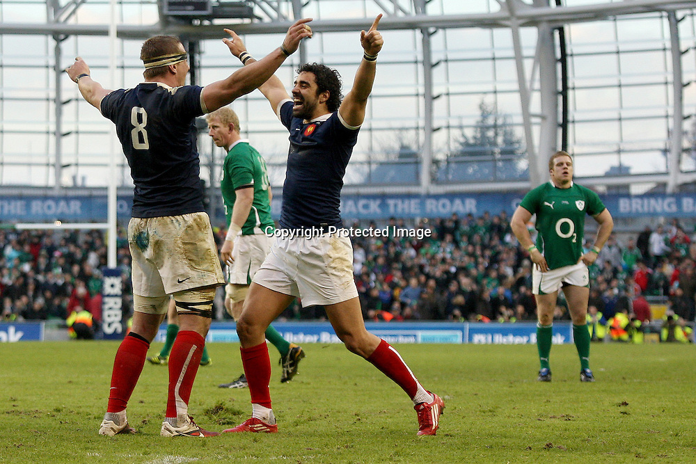 RBS Six Nations Championship, Aviva Stadium, Dublin 13/2/2011<br />Ireland vs France<br />France's Imanol Harinordoquy and Yoann Huget celebrate at the final whistle as Leo Cullen and Sean Cronin look dejected<br />Mandatory Credit &copy;INPHO/James Crombie <br /> *** Local Caption ***