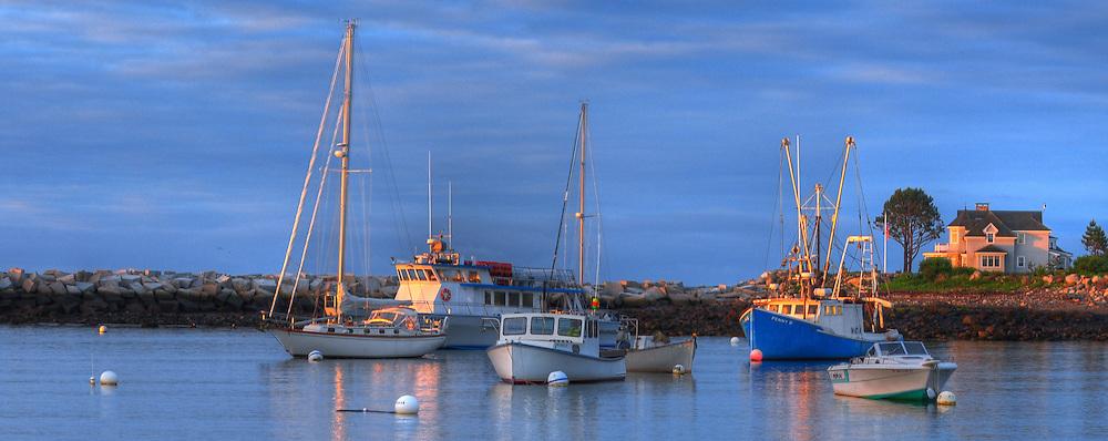 Boats at sunrise, Rye Harbor, NH