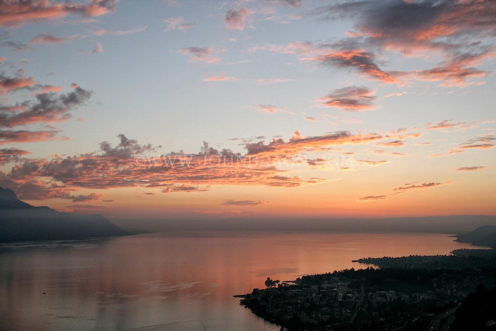 Sunset over Lake Geneva just outside of Montreux, Switzerland.