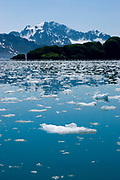 Glacier ice from where Aialik Glacier creeps into the sea at Aialik Bay, Kenai Fjords National Park, Alaska