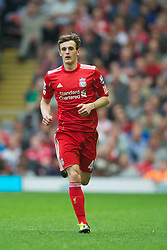 LIVERPOOL, ENGLAND - Saturday, April 23, 2011: Liverpool's Jack Robinson in action against Birmingham City during the Premiership match at Anfield. (Photo by David Rawcliffe/Propaganda)