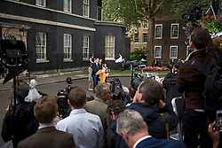 © Licensed to London News Pictures. 13/07/2016. London, DAVID and SAMANTHA CAMERON leave Downing Street in London with their children ARTHUR, FLORENCE and NANCY,  for the last time before Theresa May is sworn in this evening as the new British Prime Minister. Photo credit: Ben Cawthra/LNP