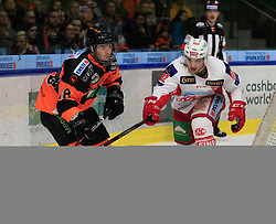 03.03.2019, Merkur Eisstadion, Graz, AUT, EBEL, Moser Medical Graz 99ers vs EC KAC, Platzierungsrunde, 51. Runde, im Bild Ken Ograjensek (Moser Medical Graz 99ers) und Clemens Unterweger (EC KAC) // during the Erste Bank Eishockey League 51th round match between Moser Medical Graz 99ers and EC KAC at the Merkur Eisstadion in Graz, Austria on 2019/03/03. EXPA Pictures © 2019, PhotoCredit: EXPA/ Erwin Scheriau