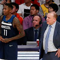 25 December 2017: Minnesota Timberwolves guard Jamal Crawford (11) is seen next to Minnesota Timberwolves head coach Tom Thibodeau during the Minnesota Timberwolves 121-104 victory over the LA Lakers, at the Staples Center, Los Angeles, California, USA.