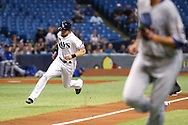 May 9, 2017 - St. Petersburg, Florida, U.S. - WILL VRAGOVIC   |   Times.Tampa Bay Rays center fielder Colby Rasmus (28) rounds third to score on the single by Tampa Bay Rays center fielder Kevin Kiermaier (39) in the first inning of the game between the Kansas City Royals and the Tampa Bay Rays at Tropicana Field in St. Petersburg, Fla. on Tuesday, May 9, 2017. (Credit Image: © Will Vragovic/Tampa Bay Times via ZUMA Wire)