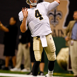 August 21, 2010; New Orleans, LA, USA; New Orleans Saints quarterback Sean Canfield (4) passes during warms ups prior to a preseason game against the Houston Texans at the Louisiana Superdome. Mandatory Credit: Derick E. Hingle