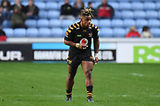Wasps wing Paolo Odogwu (11) during the Gallagher Premiership Rugby match between Wasps and Bath Rugby at the Ricoh Arena, Coventry, England on 2 November 2019.