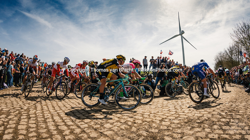 Peloton with Dylan GROENEWEGEN of Team LottoNL-Jumbo at the 4 star cobblestone sector 26 from Fontaine-au-Tertre to Quievy during the 2018 Paris-Roubaix race, France, 8 April 2018, Photo by Thomas van Bracht / PelotonPhotos.com | All photos usage must carry mandatory copyright credit (Peloton Photos | Thomas van Bracht)