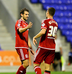 Christian Stuani of Middlesbrough celebrates after scoring his sides third goal  - Mandatory byline: Matt McNulty/JMP - 07966386802 - 12/08/2015 - FOOTBALL - Boundary Park -Oldham,England - Oldham Athletic v Middlesbrough - Capital One Cup