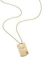 boy dog tag necklace in gold