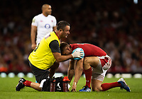Rugby Union - 2019 pre-Rugby World Cup warm-up (Under Armour Summer Series) - Wales vs. England<br /> <br /> Wales' Dan Biggar receiving medical attention during the game, at Principality (Millennium) Stadium.<br /> <br /> COLORSPORT/ASHLEY WESTERN