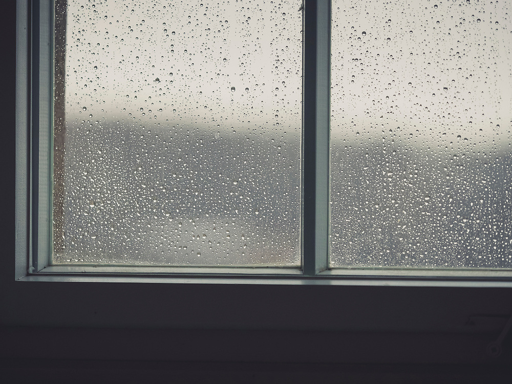 Raindrops on window of permanent exhibition on the history of Buchenwald concentration camp, KZ Buchenwald, Ettersberg, Weimar, Thueringen, Germany