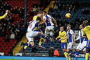 Leeds United defender, on loan from Torino,  Pontus Jansson (18) scores the winning goal making it 2-1 Leeds  during the EFL Sky Bet Championship match between Blackburn Rovers and Leeds United at Ewood Park, Blackburn, England on 2 February 2017. Photo by Pete Burns.