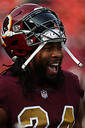 Nov 18, 2018; Landover, MD, USA; Washington Redskins cornerback Josh Norman (24) smiles before an NFL game against the Houston Texans at FedEx Field. The Texans beat the Redskins 23-21. (Steve Jacobson/Image of Sport)