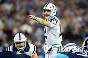 NASHVILLE, TN - DECEMBER 30:  Andrew Luck #12 of the Indianapolis Colts signals at the line of scrimmage during a game against the Tennessee Titans at Nissan Stadium on December 30, 2018 in Nashville, Tennessee.  The Colts defeated the Titans 33-17.   (Photo by Wesley Hitt/Getty Images) *** Local Caption *** Andrew Luck