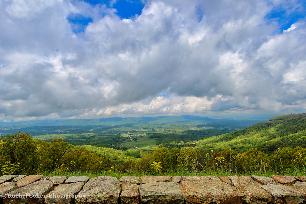 &quot;Blue Ridge Bounty&quot;<br /> <br /> Wondrous Blue Ridge mountain scene as viewed from the historic stone walls along the overlooks!!<br /> <br /> The Blue Ridge Mountains by Rachel Cohen