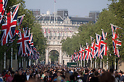 Celebrations near Buckingham Palace on the day of the Royal wedding of Prince William and Catherine Middleton, London, United Kingdom.