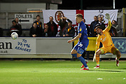 AFC Wimbledon striker Joe Pigott (39) rounding Bradford City goalkeeper Richard O'Donnell (1) during the EFL Sky Bet League 1 match between AFC Wimbledon and Bradford City at the Cherry Red Records Stadium, Kingston, England on 2 October 2018.