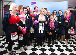 "© Licensed to London News Pictures. 12/05/2012. London, England. Jennifer Saunders with members of her team (Jen's Big Tits Team). The MoonWalk London 2012, Celebrating 15 years of Moon Walking for the breast cancer charity ""Walk the Walk"". Photo credit: Bettina Strenske/LNP"