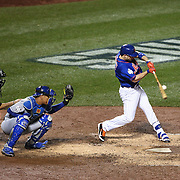 David Wright, New York Mets, hits a single during the New York Mets Vs Kansas City Royals, Game 5 of the MLB World Series at Citi Field, Queens, New York. USA. 1st November 2015. Photo Tim Clayton