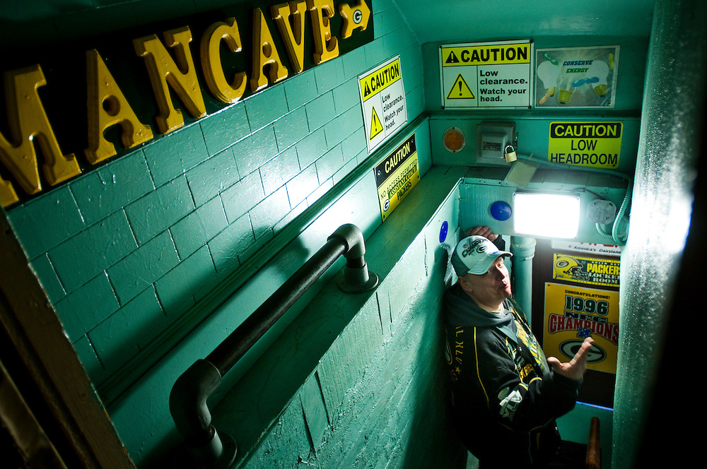 Greg Battleson has built a Green Bay Packers -themed man cave in a basement in Jersey City..Photographer: Chris Maluszynski /MOMENTGreg Battleson has built a Green Bay Packers -themed man cave in a basement in Jersey City..Photographer: Chris Maluszynski /MOMENT