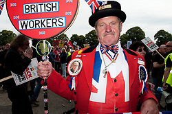 © Licensed to London News Pictures. 23/7/2011. Derby, UK. Ray Egan, a.k.a. John Bull, poses for photographs at a rally in Derby city centre. Union members and members of the general public marched today (23/07/2011) in Derby against job cuts at Bombardier, the UK's last remaining train maker. Approximately 1400 jobs are due to be cut at Bombardier after German manufacturer Siemens were announced as the preferred bidder for the Government Thameslink contract worth an estimated £1.4bn. Photo credit : Tim Goode/LNP
