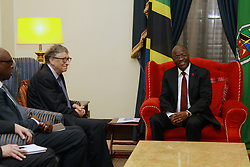 August 10, 2017 - Dar Es Salaam, Dar es Salaam, Tanzania - Bill Gates, American business magnate and philanthropist, meets with president John Magufuli at the Presidental State House. Gates applauds president Magufuli's commitment to poverty reduction in Tanzania and pledges his foundation's continued support.  Tanzania is one of 45 African countries in which the Bill and Melinda Gates Foundation plans to invest  billion by 2021. (Credit Image: © Ric Francis via ZUMA Wire)