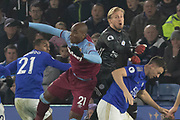 Kasper Schmeichel (1) & Angelo Ogbonna (21) during the Premier League match between Leicester City and West Ham United at the King Power Stadium, Leicester, England on 22 January 2020.