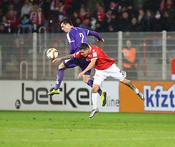 30.01.2016, Stadion An der Alten Foersterei, Berlin, GER, 1. FC Union Berlin vs SV Austria Salzburg, Testspiel, im Bild Kopfballduell zwischen Christopher Quiring (#2, 1. FC Union Berlin) und Markus Wallner (#2, SV Austria Salzburg) // during a preperation Football Match between 1. FC Union Berlin vs SV Austria Salzburg at the Stadion An der Alten Foersterei in Berlin, Germany on 2016/01/30. EXPA Pictures &copy; 2016, PhotoCredit: EXPA/ Eibner-Pressefoto/ Hundt<br /> <br /> *****ATTENTION - OUT of GER*****