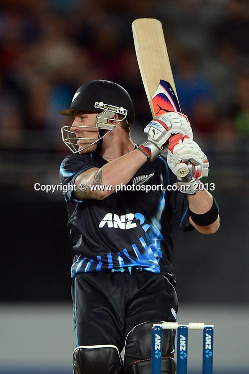 Captain Brendon McCullum batting. ANZ T20 Series. 1st Twenty20 Cricket International. New Zealand Black Caps versus England at Eden Park, Auckland, New Zealand. Saturday 9 February 2013. Photo: Andrew Cornaga/Photosport.co.nz
