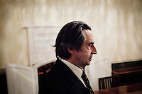 "ROME, ITALY - 12 MARCH 2013: Music director Riccardo Muti, 71, walks from his dressing room towards the orchestra for the third and final act of ""I Due Foscari"", an opera in three acts by Giuseppe Verdi, at the Teatro dell'Opera in Rome, Italy, on March 12, 2013... Riccardo Muti, Music Director of the Chicago Symphony Orchestra, has accepted the title of Honorary Director for Life of the Teatro dell'Opera in Rome...Gianni Cipriano for The New York Times"