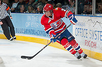 KELOWNA, CANADA - MARCH 5: Jason Fram #2 of the Spokane Chiefs skates behind the net with the puck against the Kelowna Rockets on March 5, 2014 at Prospera Place in Kelowna, British Columbia, Canada.   (Photo by Marissa Baecker/Getty Images)  *** Local Caption *** Jason Fram;