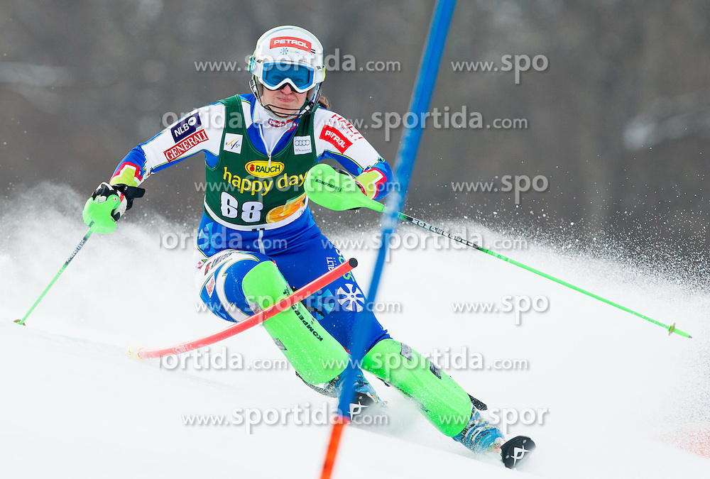 "HAFNER Ula (SLO) competes during 1st Run of FIS Alpine Ski World Cup 7th Ladies' Slalom race named ""49th Golden Fox 2013"", on January 27, 2013 in Mariborsko Pohorje, Maribor, Slovenia. (Photo By Vid Ponikvar / Sportida.com)"
