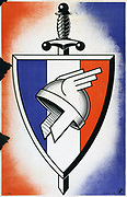 World War II 1939-1945: Badge of the  LVF (Legion of French Volunteers Against Bolshevism), a collaborationist unit founded in 1941 to fight with the Germans.  France