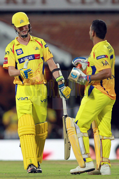 Batting partner Christopher Morris walks over to congratulate MS Dhoni after scoring the winning runs during match 34 of the Pepsi Indian Premier League between The Chennai Super Kings and the Sunrisers Hyderabad held at the MA Chidambaram Stadium in Chennai on the 25th April 2013. Photo by Jacques Rossouw-IPL-SPORTZPICS   .. .Use of this image is subject to the terms and conditions as outlined by the BCCI. These terms can be found by following this link:..http://www.sportzpics.co.za/image/I0000SoRagM2cIEc